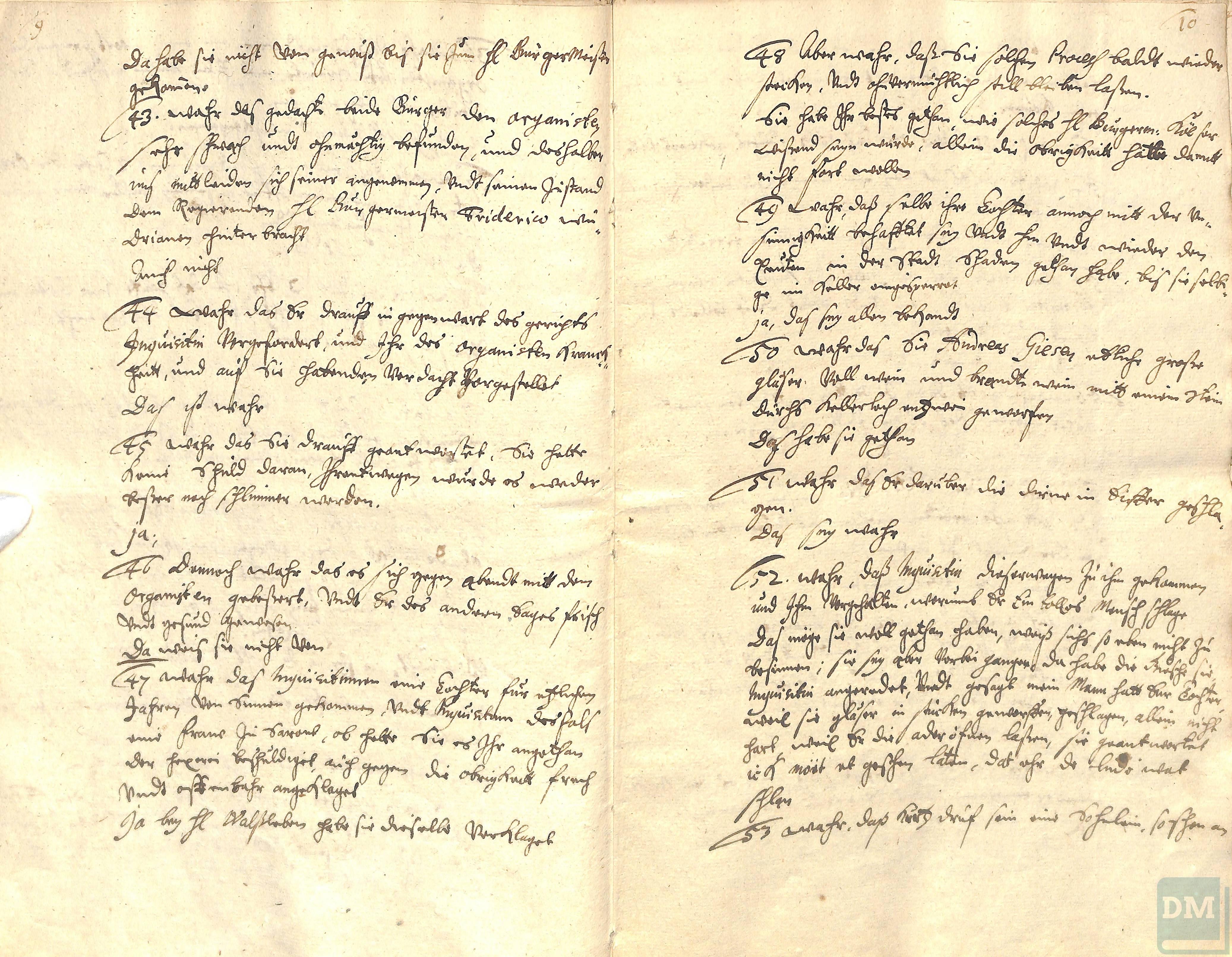 Witch trial against Stine Palms (or Petersche), 1675 - Demminer